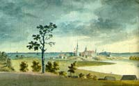 View of Krustpils town and castle in 1792
