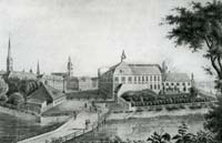 Riga castle from Citadel in the beginning of 19th century