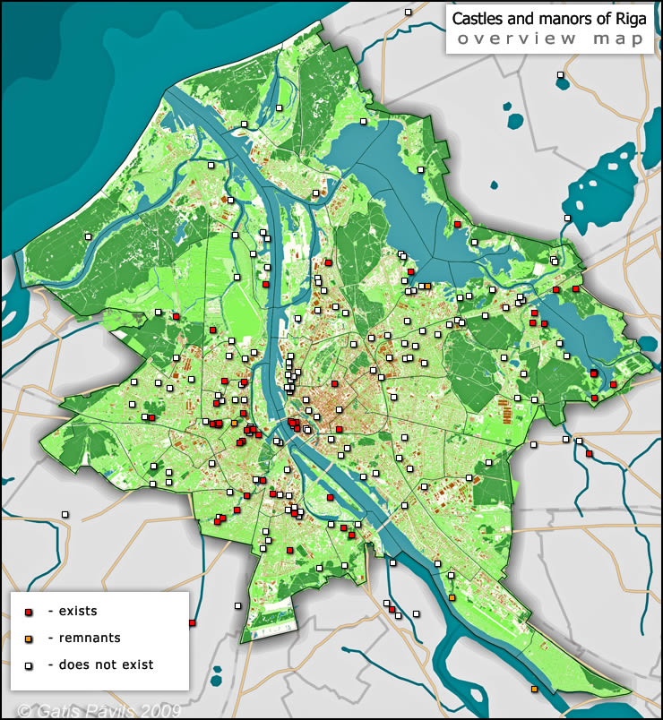 Manors And Castles Of Riga - Old riga map