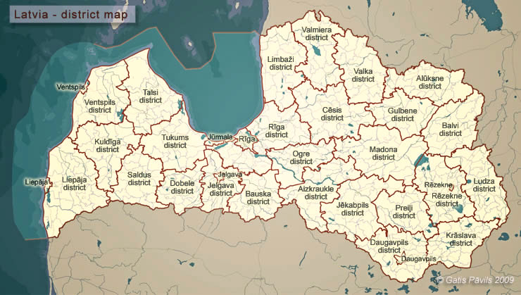 Overview map of Latvia - districts